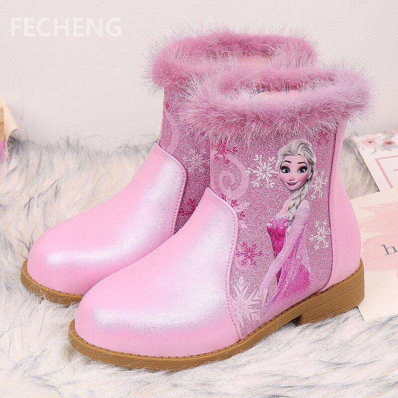 Giá bán Fecheng Trẻ Em Giày Trẻ Em Giày Mới Thời Trang Công Chúa Hoạt Hình Giày Da PU Bé Gái Mùa Đông Ấm Lên Mắt Cá Chân Giày Cao Cổ Cho Bé Tập Đi giày