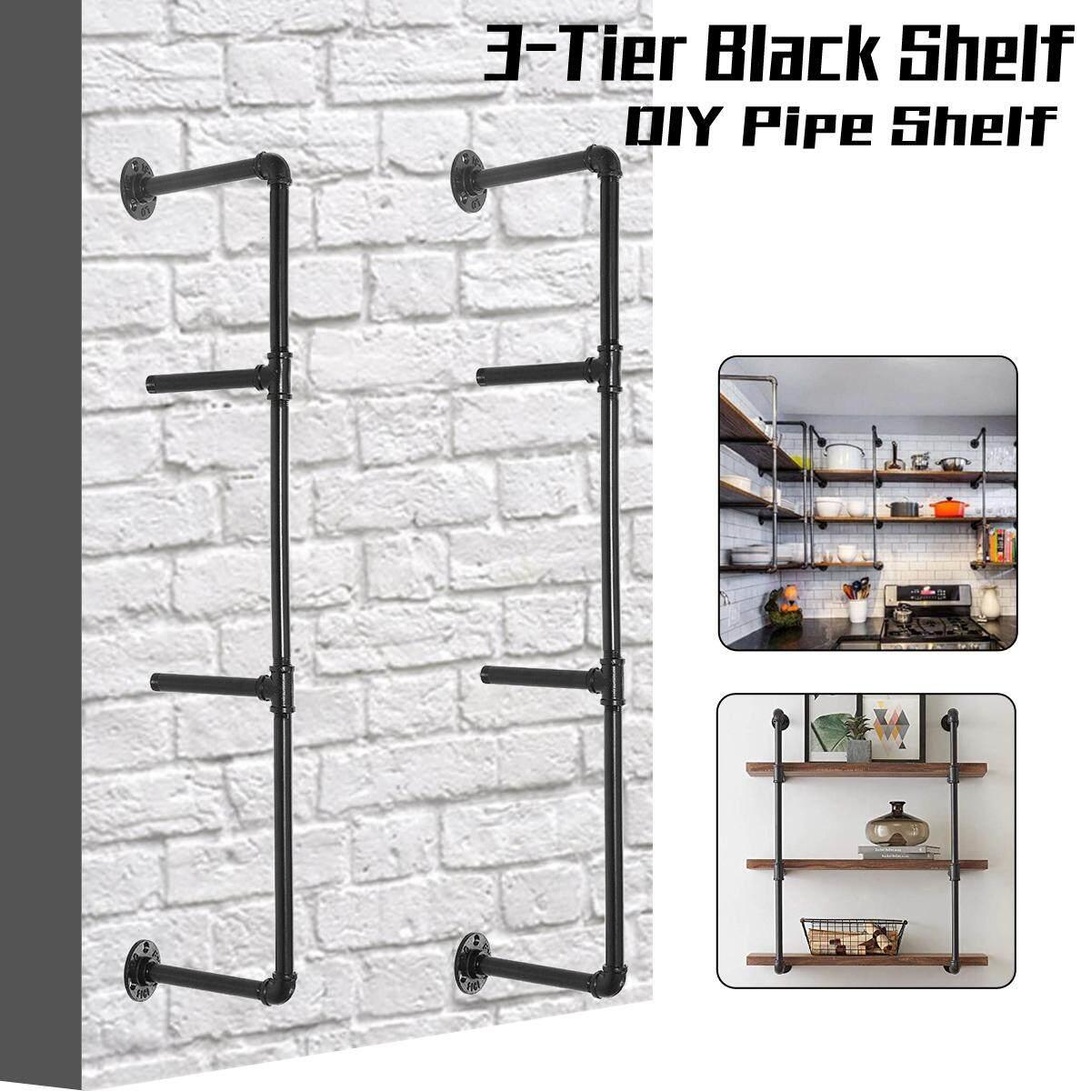 2pcs Anti-rust 3-Tier Industrial Wall-Mounted Iron Pipe Bracket DIY Bookshelf Frame(92cm,deep 20cm)