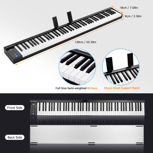 88 Keys Digital Electronic Piano Keyboard MIDI Output Built-in Stereo Speakers Light Strip with 400 Tones 128 Rhythms 80 Demo Songs Headphone Speaker Output Drum Kit Function Reording Sustain Vibrato Chord with Pedal Malaysia