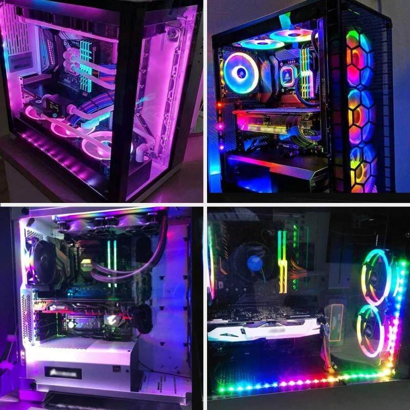 Bảng giá 【2pcs】 RGB Dẻo PC Máy Tính Bo mạch chủ dải ĐÈN LED AURA RGB mở rộng bên ngoài Máy Tính Đèn Dây Phong Vũ