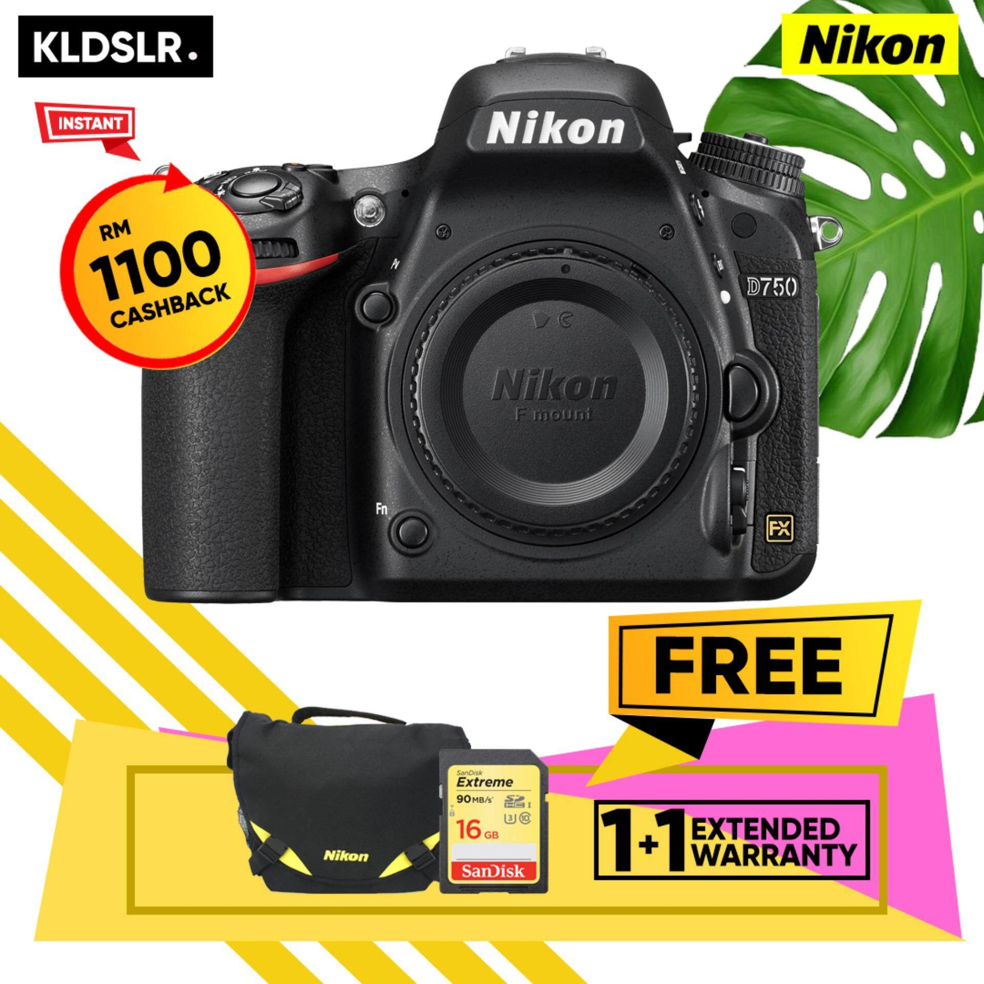 Nikon D750 Dslr Camera Body Only Sandisk 16gb Extreme Sd Card Nikon Bag 1 1 Year Nikon Malaysia Warranty