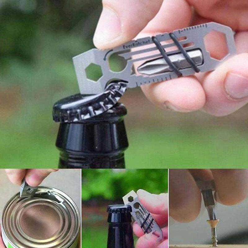 68*19mm 6-in-1 multi-function bottle opener Travel camping equipment Practical small ratchet tool Can be used outdoors, home kitchen, hotel