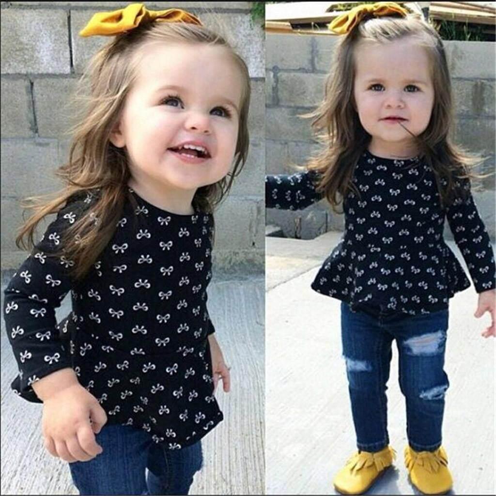 【KATATA】Toddler Kid Cho Bé Gái Trên áo + Quần Jean Denim Rách Quần Bộ Quần Áo