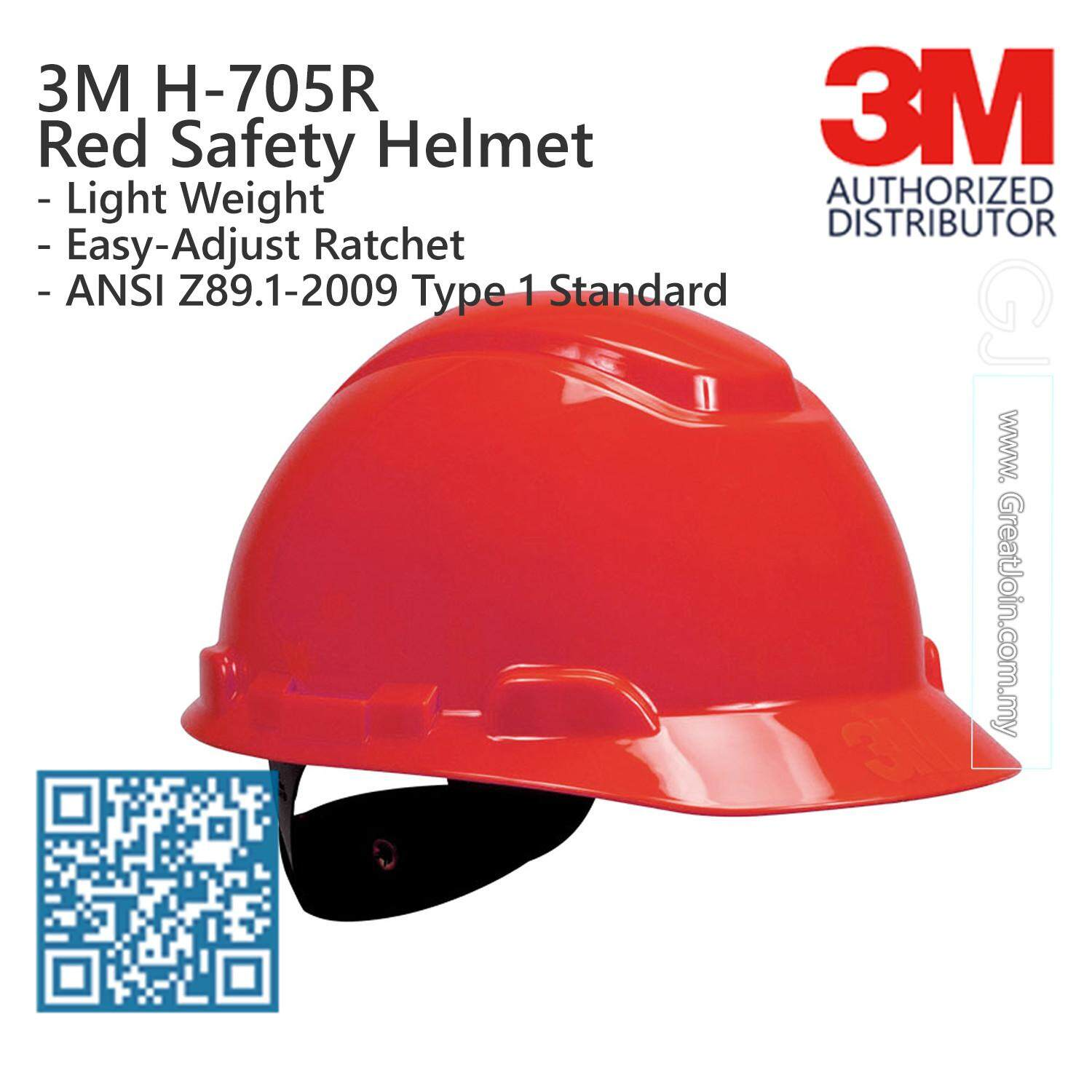 3M H-705R Red Colour Safety Helmet/ Hard Hat/ 4-Point Suspension Ratchet Type/ ANSI Approval [1 piece] Made in USA