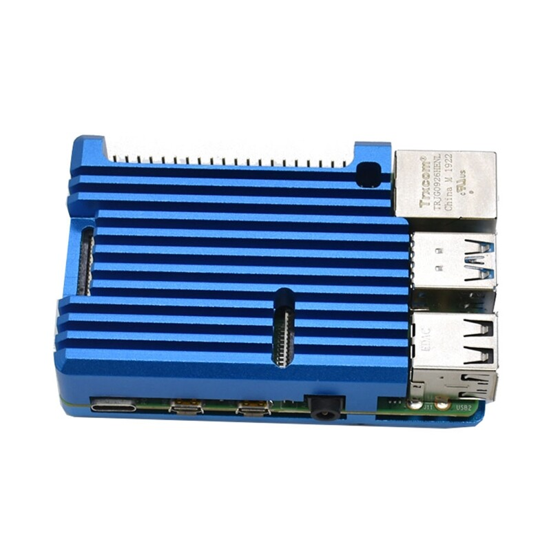 for Raspberry Pi 4 Model B 4GB RAM Support 2.4 / 5.0 GHz WIFI Bluetooth 5.0 with Aluminum CNC Alloy Protective Case(Blue)