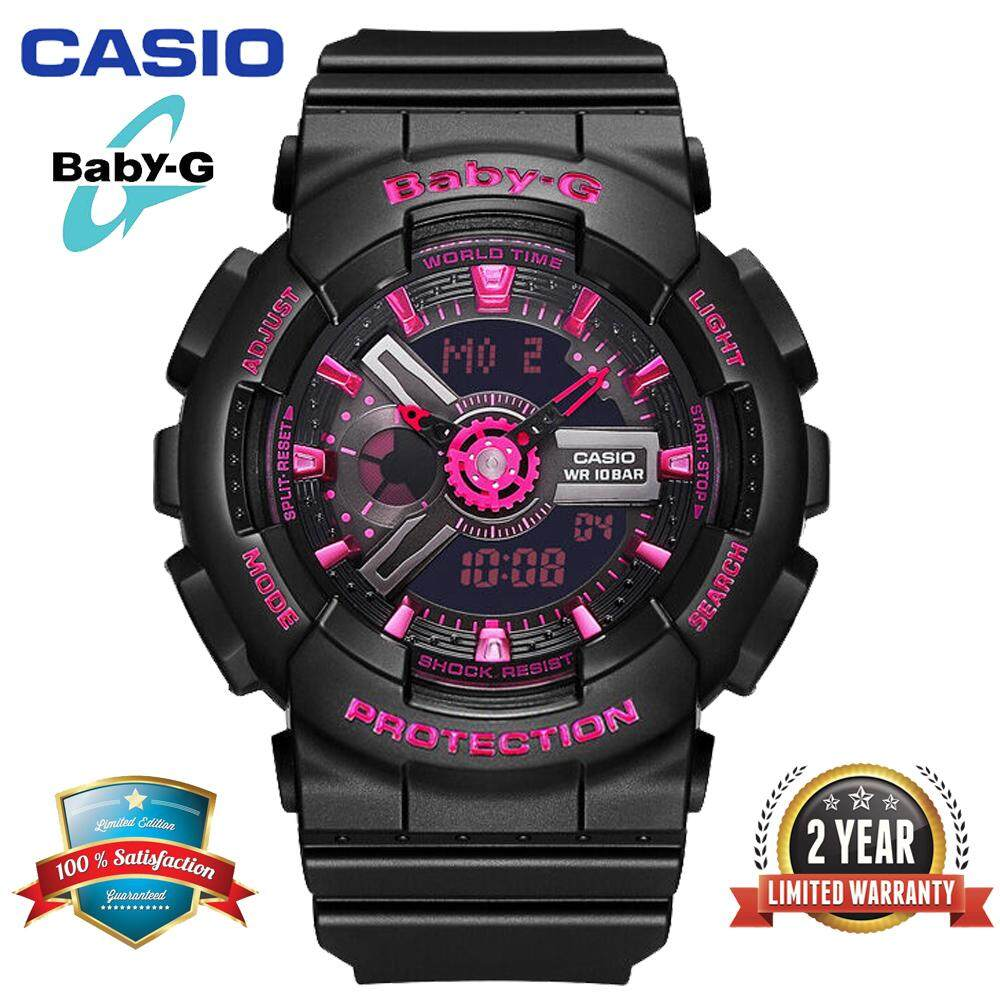 Casio watch Baby G_BA110 Women Sport Watch Duo W/Time 100M Water Resistant Shockproof and Waterproof World Time LED Light Girl Wist Sports Watches with 2 Year Warranty BA-111-1A Black Pink Malaysia