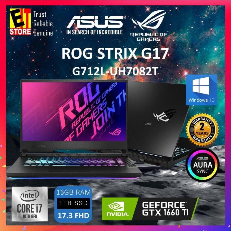 """ASUS ROG STRIX G17 G712L-UH7082T (I7-10750H/16GB DDR4/1TB SSD/GTX1660Ti 6GB/17.3"""" FHD/W10/2YRS) + BAG Malaysia"""