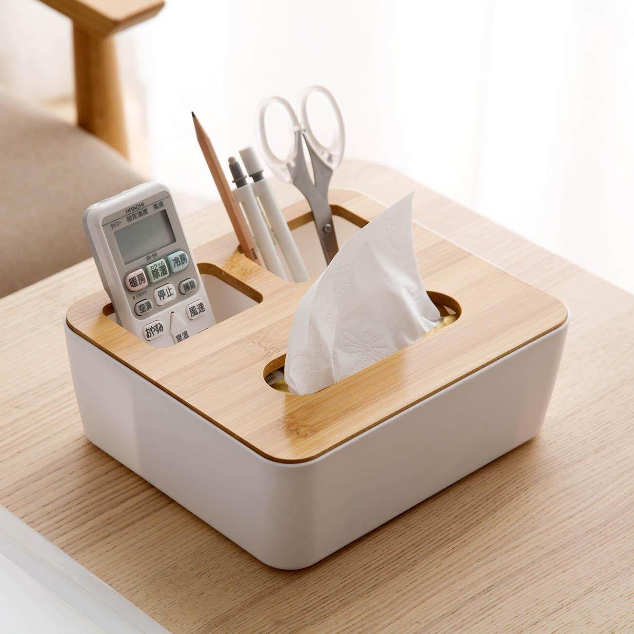 Desktop Storage Box Case Wooden Tissue Box Napkin Holder Phone Holder Cosmetics Jewelry Remote Control Organizer