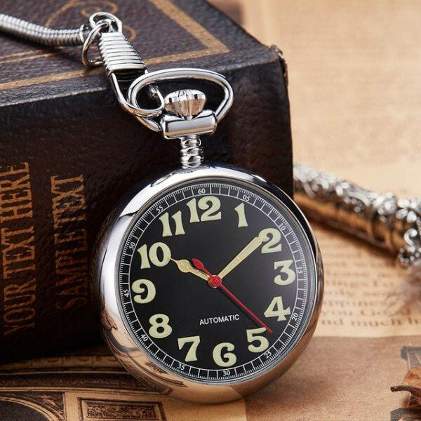 Luxury Sliver Mechanical Pocket Watch Luminous Hands Men Women Golden Color Roman Numerals Fob Chain Russia Automatic Good Clock Malaysia