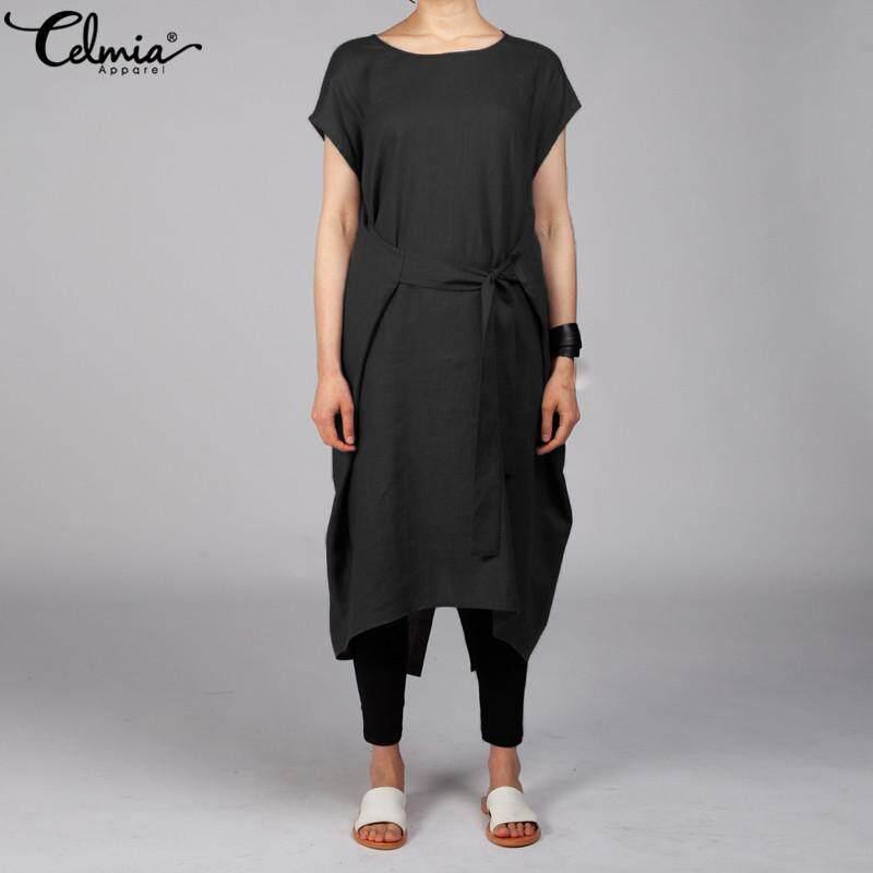 a8f16ece645ec Celmia Women Crew Neck Bandage Short Sleeve Midi Dress Tunic Top Plus Size  Split Kaftan