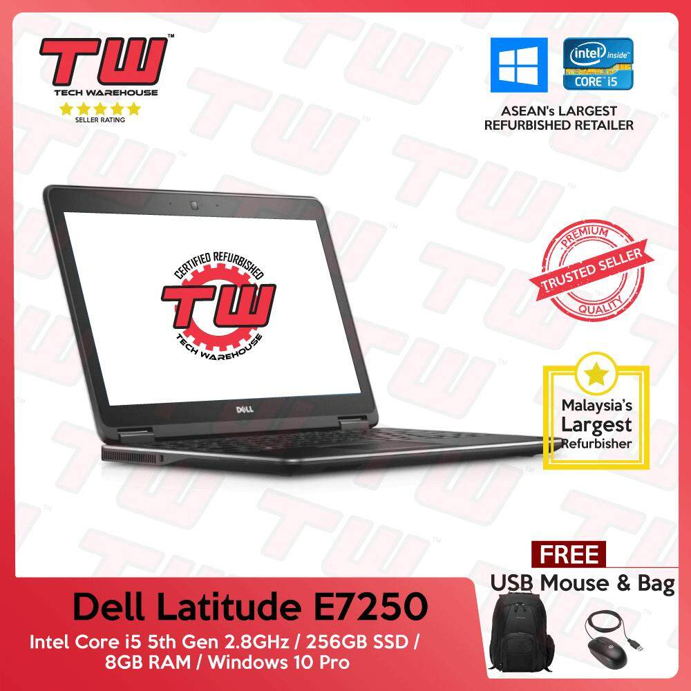 Dell Latitude E7250 Core i5 5th Gen 2.8GHz / 8GB RAM / 256GB SSD / Windows 10 Pro Laptop / 3 Month Warranty (Factory Refurbished) Malaysia