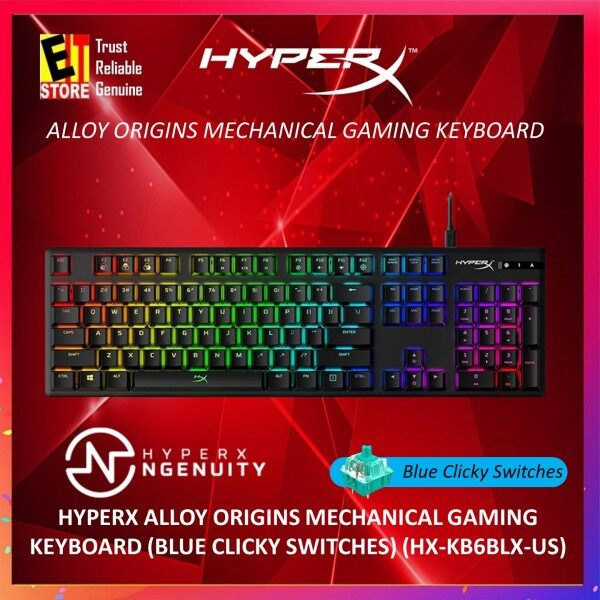 KINGSTON HYPERX ALLOY ORIGINS MECHANICAL GAMING KEYBOARD (BLUE CLICKY SWITCHES) (HX-KB6BLX-US) Malaysia