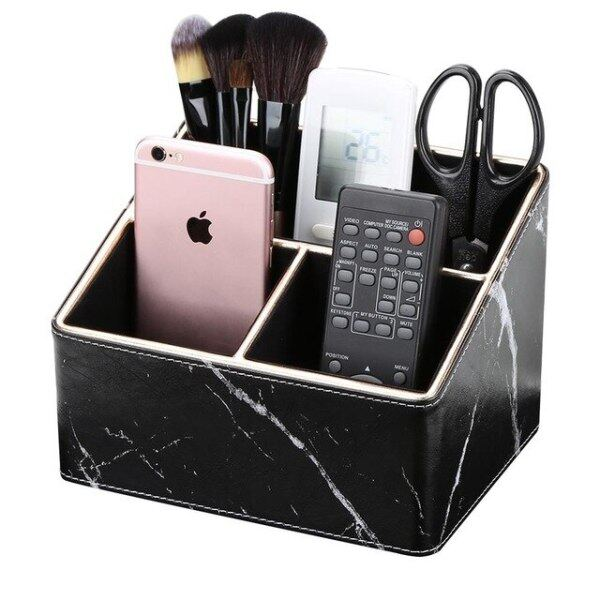 Multi-function 3 Compartments Storage Box Gold edge Marble Faux Leather Desk Organizer Remote Controllers Holder Case