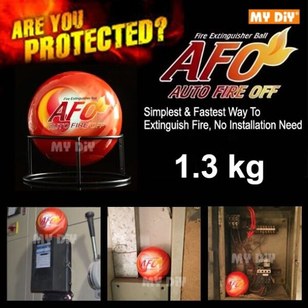 MYDIYSDNBHD - Fire Ball AFO Auto Fire Off Fire Extinguisher Ball Harmless Dry Powder Extinguisher Suppression Device Fire Safety Product / AFO Automatic Fire Ball, ABC Fire Extinguisher, Fire Suppression Device / Available Size 1.3Kg or 0.5Kg