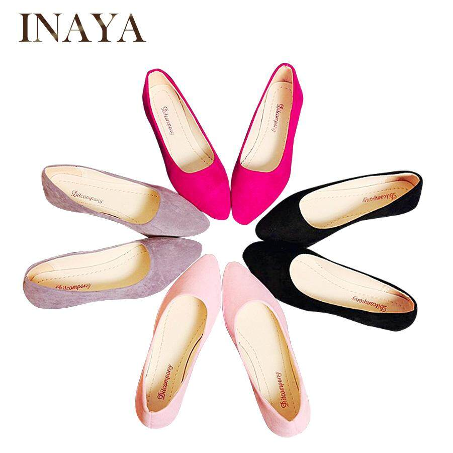 6c5244fcf6e4 INAYA Women Casual Flat Shoes Peas Shoes Pointed Shoes Comfort