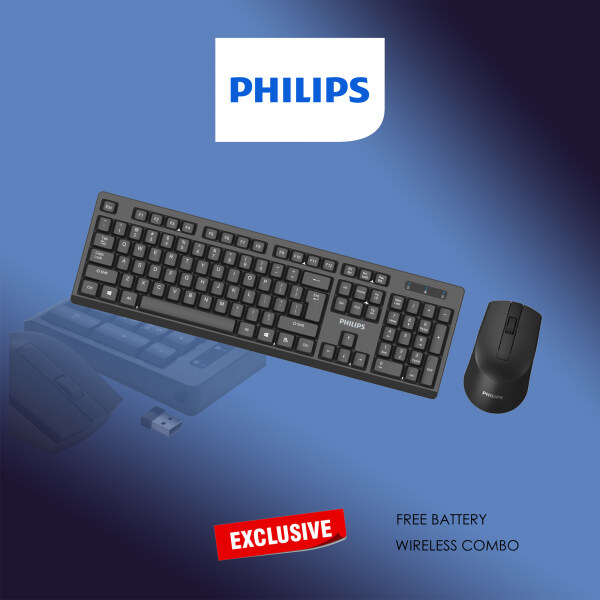 Philips Wireless Keyboard & Mouse Combo, Optimized 2.4GHz Drop-Free Connection, Silent Keyboard & Ambidextrous Mouse C/w Unified Nano Receiver  (Model- C354 / SPT6354) Malaysia