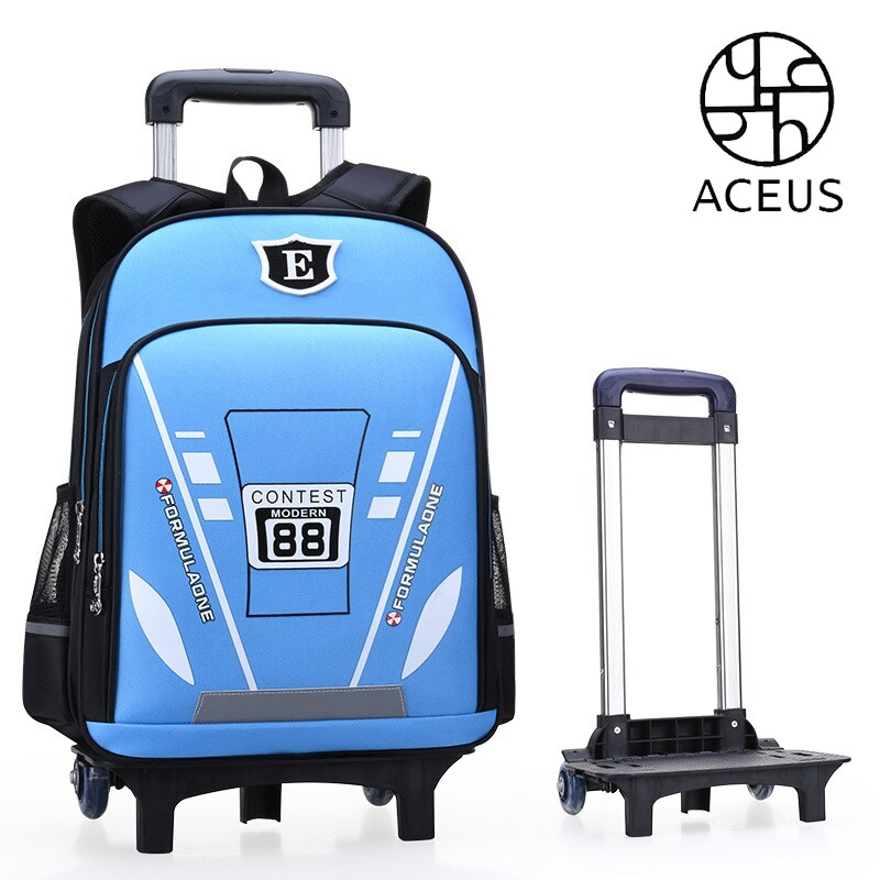 Aceus Primary School Students Rod Bag Boy 1-5 Grade Children Bag 6-12 Years Old Six-wheeled Girl Stair-climbing Waterproof