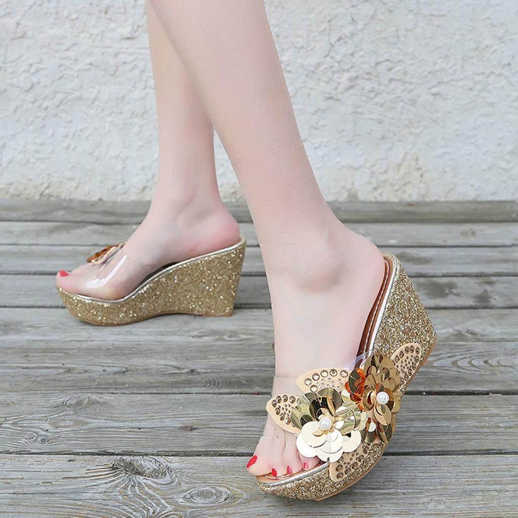 1ba920c4e cocofasion Fashion Womens Summer Rhinestone sequins Sandals Roman Wedges  Casual Beach Shoes