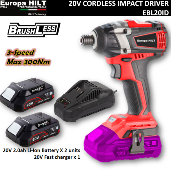 Europa Hilt 20V Cordless Impact Driver 1/4  Hex with 2 x 2.0ah Battery(Brushless Technology)