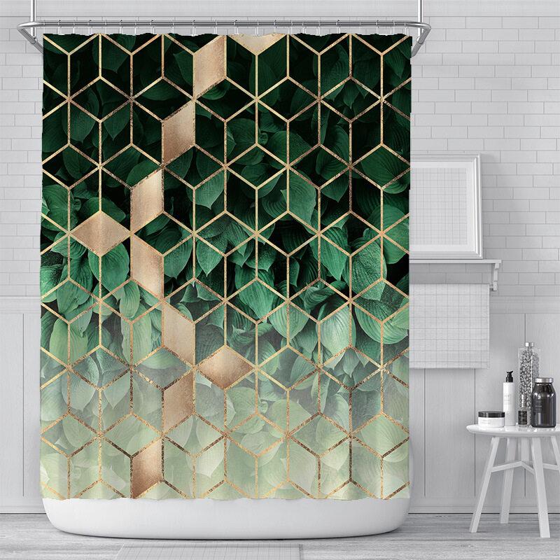 Bộ Rèm Tắm Không Thấm Nước Với 12 Móc Rèm Phòng Tắm Hình Tam Giác PEVA, Vải Polyester Chống Nấm Mốc Khi Tắm, Để Trang Trí Nhà Cửa