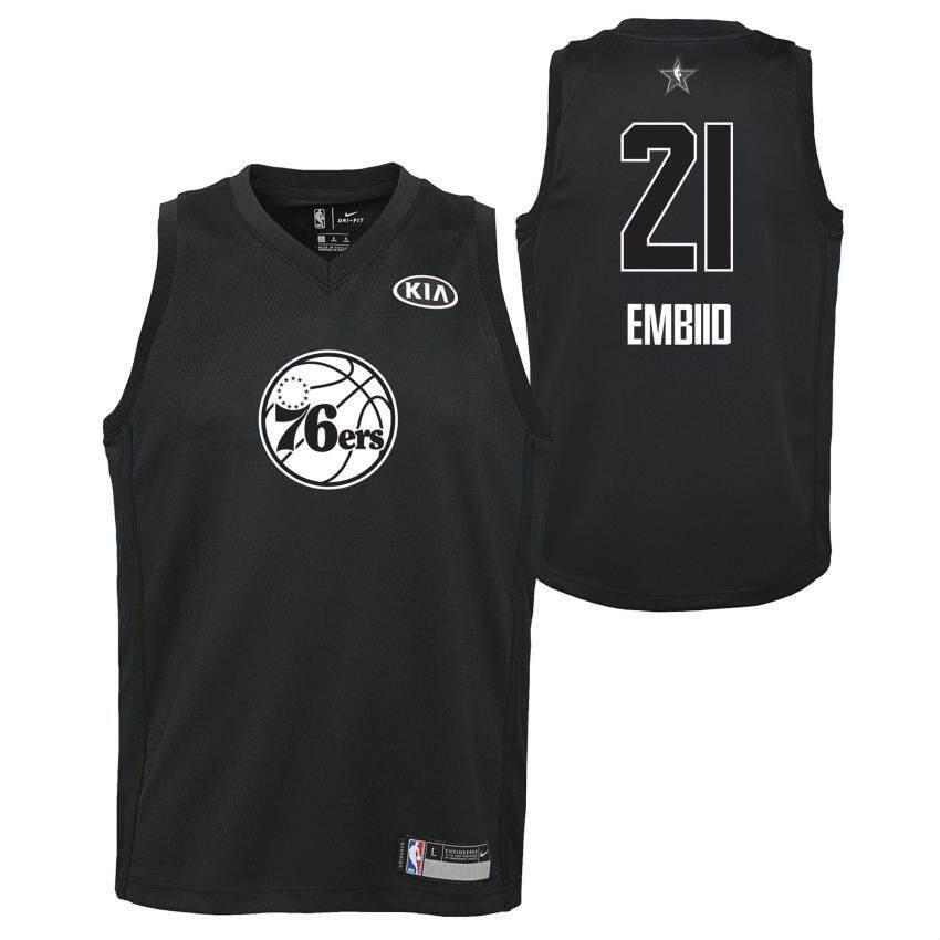 022566ec Black All-Star 2018 Philadelphia 76ers Joel Embiid Swingman Jersey  Basketball Clothes Men's Num 21