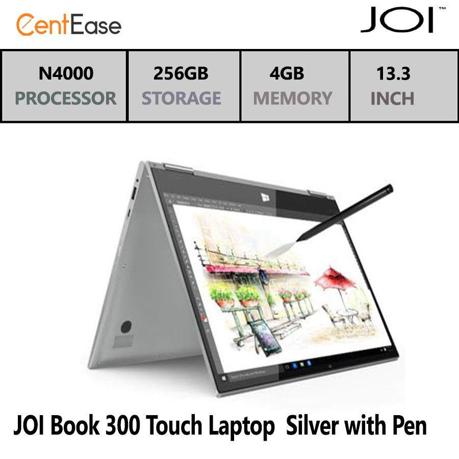 JOI Book 300 Touch Laptop - N4000| W10| 13.3 FHD IPS| 4GB| 32GB+256GB SSD| Silver with Pen Malaysia
