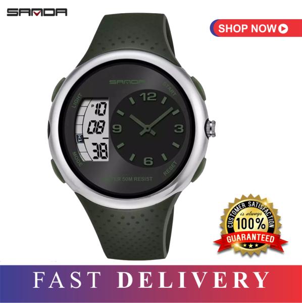 SANDA [100% orignal] mens dual time waterproof watch / resin band sport watch / man watch / swatch style watch / jam tangan lelaki / 100% AUTHENTIC Malaysia
