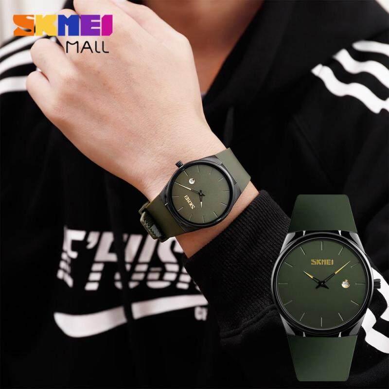Đồng hồ thạch anh SKMEI 1509 cho nam, đồng hồ đeo tay thời trang siêu mỏng đơn giản có ngày thường ngày