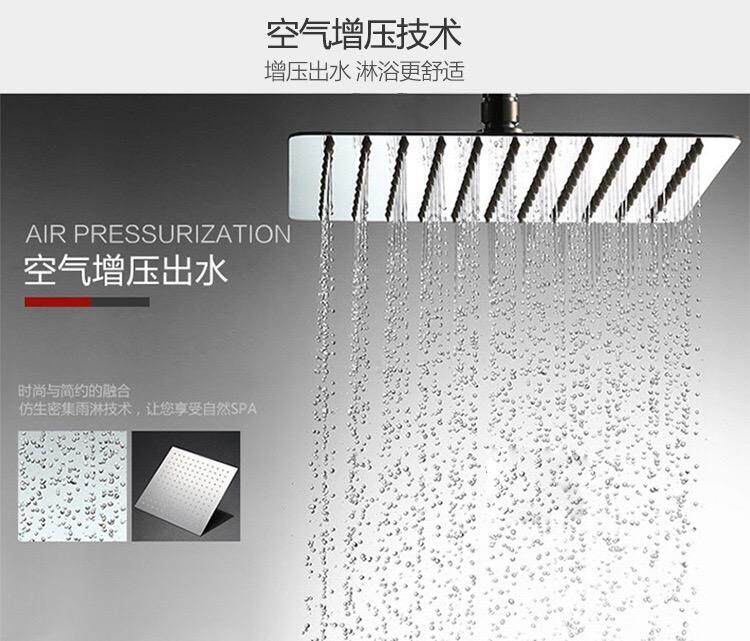 6 8 10 12 Inch High Pressure Ultra Thin 201 Stainless Steel Rain Shower Head Square