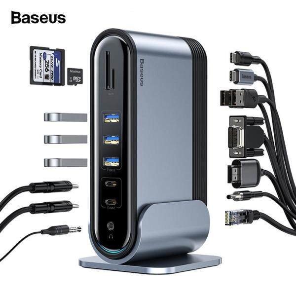 Baseus 16 in 1 USB C HUB Type C to Multi HDMI RJ45 VGA USB 3.0 2.0 with Power Adapter Docking Station for MacBook Pro Type-c Hub