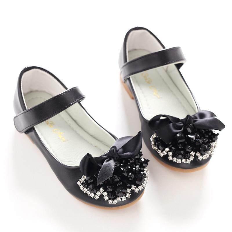 Giá bán Bé gái giày mới thường ngày dẹt màu đen