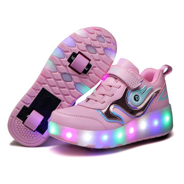 Phân phối Moven Thiếu Niên Heelys USB Charge Cycle LED Đa Chế Độ Deng Xie Giày Ánh Sáng Trẻ Em Trượt Patin