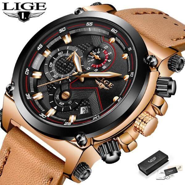 LIGE Fashion Casual Men Watches Top Brand Luxury Analog Quartz Jam Tangan Lelaki 30M Waterproof Auto Date Leather Wristwatch Malaysia