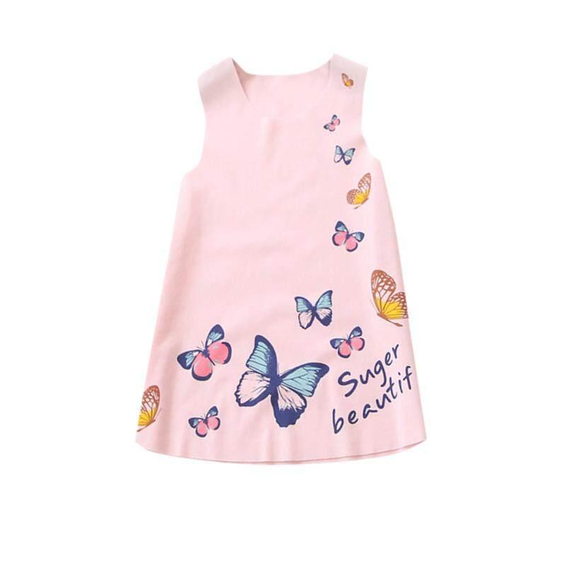 431c5db579 Summer Baby Girls Sleeveless Butterfly Printed Princess Dress Kids Vest Dresses  2-7Y