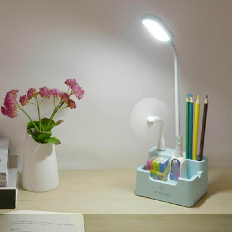 LED Charging Touch Desk Lamp Learning Reading Dimming Storage Pen Holder Student Desk Lamp With USB Charging Port