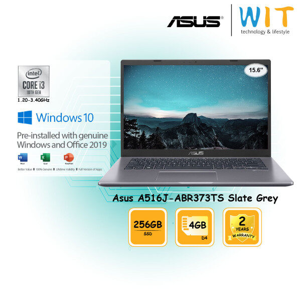 Asus Laptop A516J-ABR373TS Slate Grey/Intel Core i3-1005G1 1.20~3.40GHz/4G D4/256GB SSD/15.6/Intel Share Malaysia