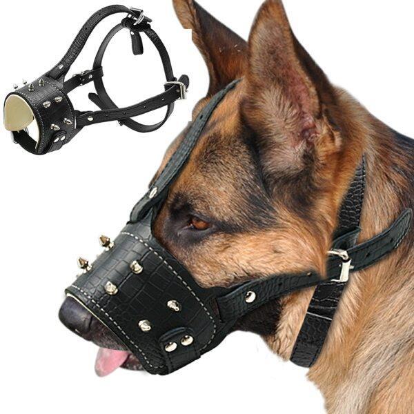 Mõm Chó Bằng Da Pu Gai Đinh Tán Thú Vị Chống Cắn Đệm Chó Đào Tạo Mõm Không Có Mặt Nạ Thú Cưng Cho Chó Pitbull Labrador Lớn