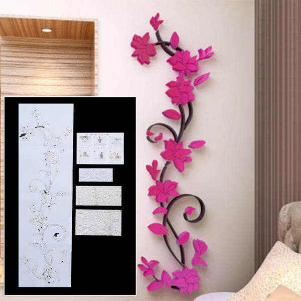 Toolstar Newest Rose Flower Wall Sticker Wallpaper Removable Acrylic Home decor Decal Room DIY