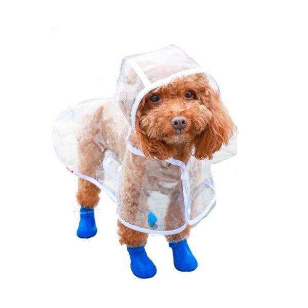 ◇♣☞Thú Cưng Mới Trong Suốt Áo Mưa Không Thấm Nước Teddy Áo Choàng Chó Nhỏ Chó Chó Bốn Chân Quần Áo Pon-sô Chống Thấm Nước