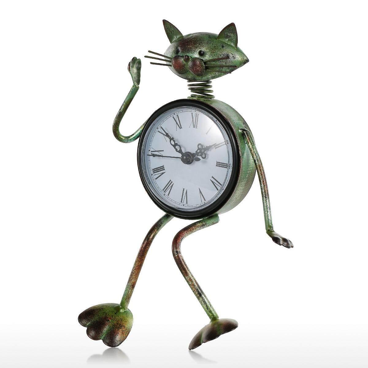Cat Clock Handmade Vintage Metal Iron Cat Figurine Mute Table Clock Practical Clock One AA Bat-tery