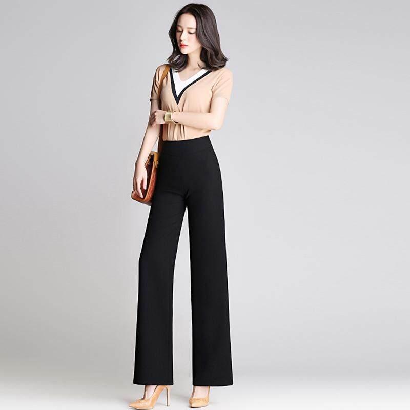 9351a7346387e High Waist Wide leg Pleated Pants Ninth pants Palazo Long Pants for Women
