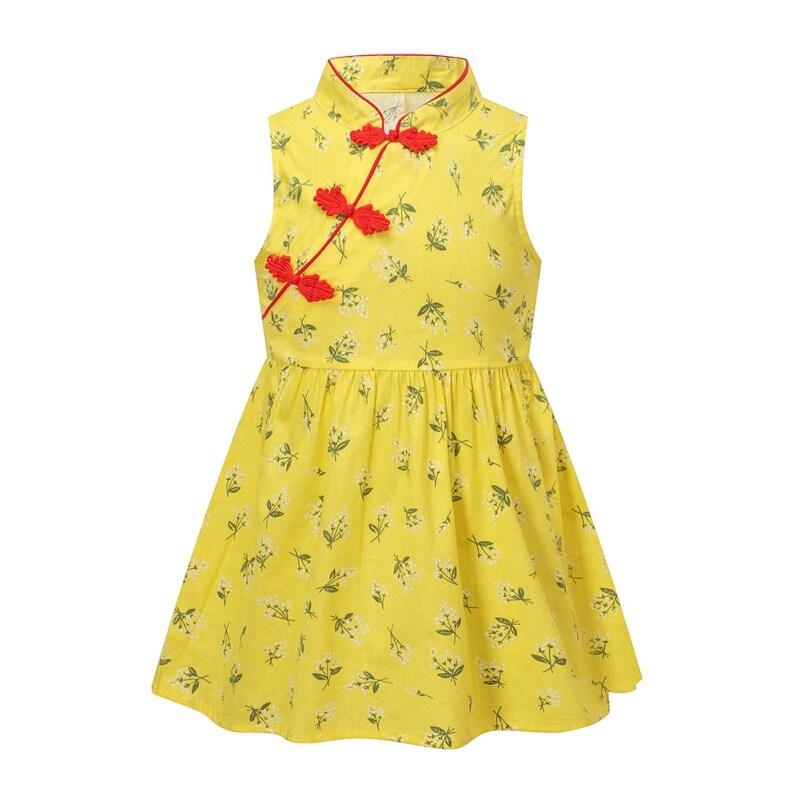 Toddler Girls Summer Princess Kids Baby Dress Party Sleeveless Cheongsam Dresses