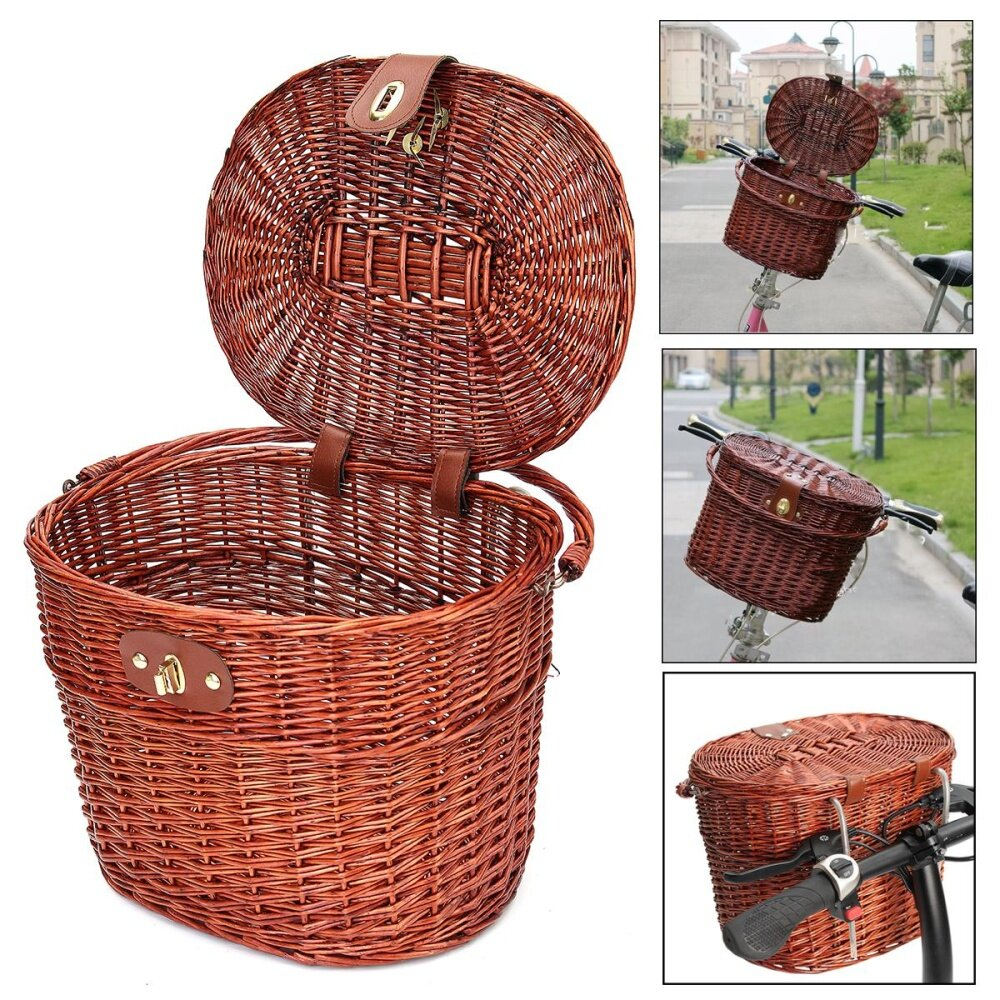 【free Shipping + Flash Deal】retro Wicker Rattan Bb Bicycle Bike Front Basket Handlebar Pannier For Pet Fruit By Audew.