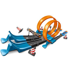 40pcs All Hot Wheels Track Catapult Railcar Set Children's toy Car Metal Racing car Alloy Track Curve Hot Wheels Track Builder Vertical Launch Kit for Boy's Gifts