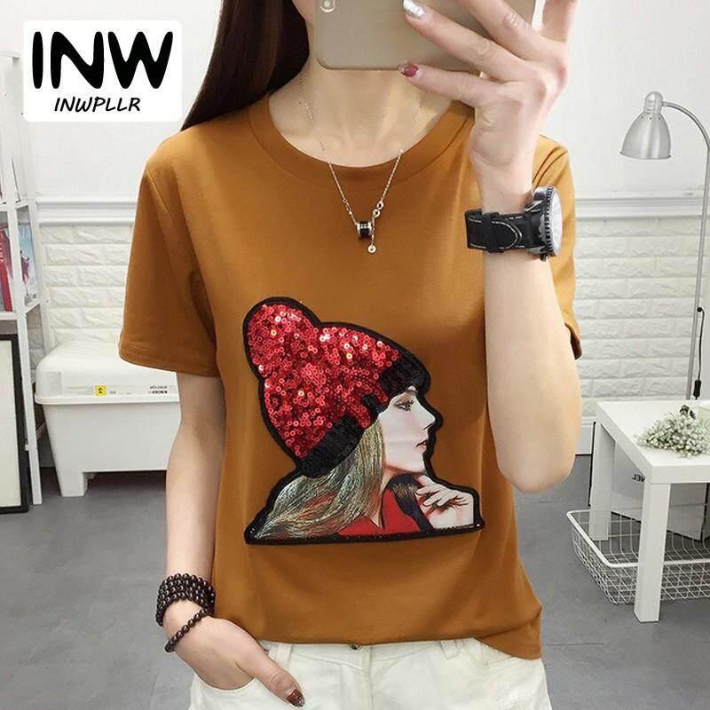 INWPLLR Korean Fashion Tops Women T-shirts Sequin Short Sleeve T Shirt For Women  Tees 3649eaa58291
