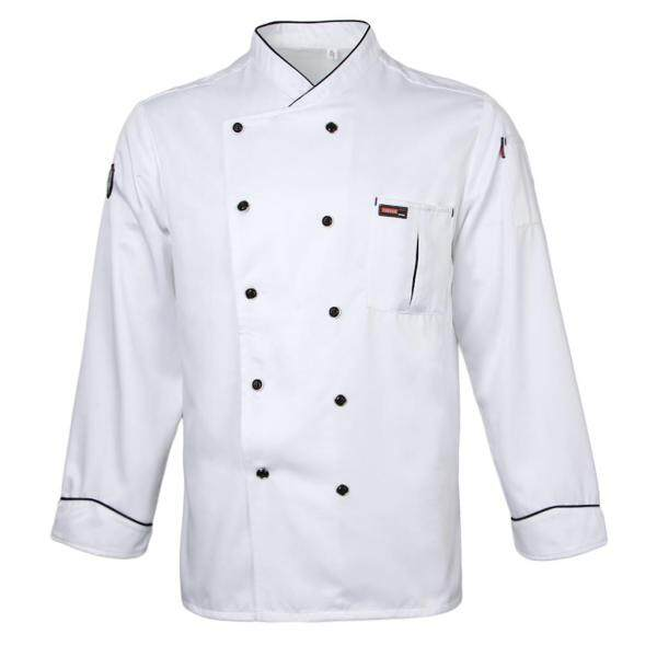 milageto Men's Women's Chef Apparel Piping Long Sleeve Chef Jacket Cook Work Coat Top