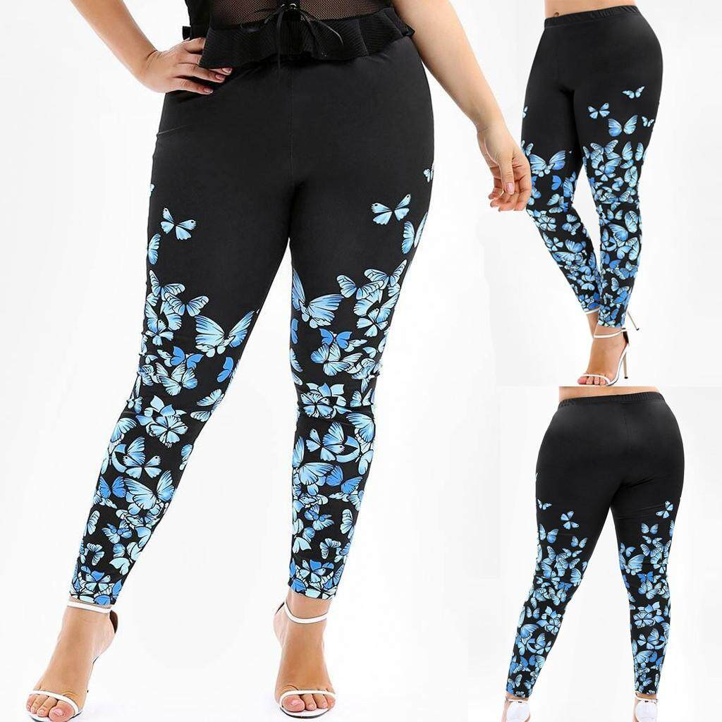 0b6e236f8ae2a1 Women Fashion High Waist Yoga Pants Plus Size Butterfly Print Legging