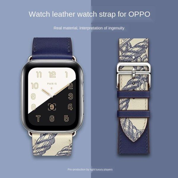 High quality leather top layer cowhide breathable personality trendy sports strap for Oppo watch smart watch 41mm 46mm Malaysia