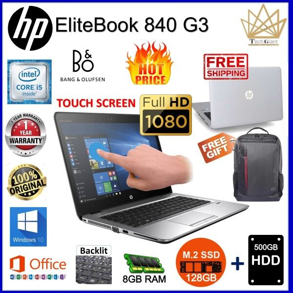 HP EliteBook 840 G3- FULL HD TOUCH SCREEN, CORE i5 6th GEN / 8GB DDR4 RAM / 128GB M.2 SSD  + 500GB SATA HDD / 14 inch FULL HD TOUCH SCREEN / WINDOWS 10  PRO / REFURBISHED NOTEBOOK /1 YEAR WARRANTY Malaysia
