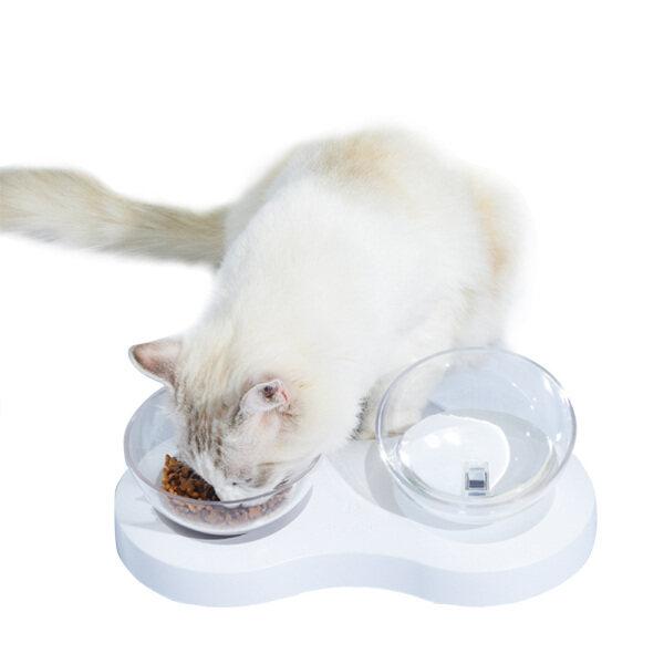 Họa Tiết Cún Cưng Mèo Đôi Trung Chuyển Bát Uống Nước Bảo Vệ Cổ Bát 0 °/20 ° Nghiêng (Bát Đôi)